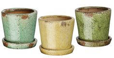"This set of 12 crackle finish ceramic pots come as 4 of each color shown. Measurements: 3.75"" H"