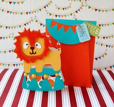 Circus Lion Card & Envelope created with the new Wild Card 2 cartridge! #cricut
