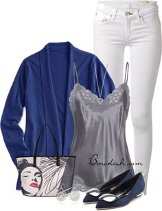 Blue cardigan silver cami casual spring outfit