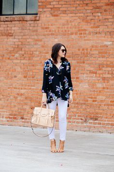 4.15 floral friday (Free People blouse + white jeans + Vince Camuto gladiator caged heels + Rebecca Minkoff satchel + Karen Walker sunnies)