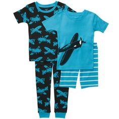 Carters Boys 4 Piece Cotton Pajama Set with Two Tops, Short and Pant - Toddler Carters Baby Boys, Toddler Boys, Kids Boys, Boys Christmas Pajamas, Boys Pajamas, Pajama Set, Pajama Pants, Teddy Boys, One Piece Pajamas