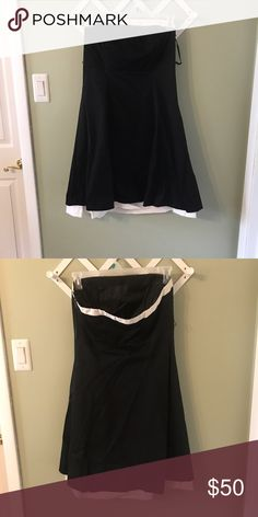 Size 10 WHBM Strapless Dress Size 10 WHBM Strapless Dress. Appears to be missing belt it came with (loops on side). Otherwise great condition, an adorable dress! White House Black Market Dresses Mini