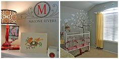 Favorite Baby Nursery Ideas. I like the tree painted on the wall. Maybe a better choice than characters?