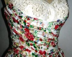 A pretty Floral Cotton Rock ability 50s cocktail dress one of a kind