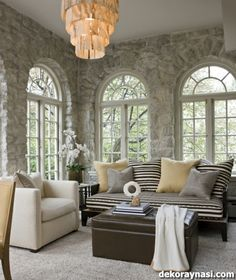 Design Chic - love a stone interior room and the arched windows are fabulous! Home Living Room, Living Area, Living Spaces, Stone Wall Living Room, Stone Interior, Interior Design, Interior Walls, Interior Ideas, Interior Decorating
