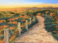'Lumiere du Soir' by Lee Raper. pastels on an A4 size Tex Card by Canson.  sunset at Loch Ard Gorge in Victoria, Australia