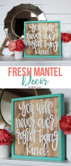 Fun & Fresh Mantel Decor in Mint and Coral Pink - Love this hand-painted…