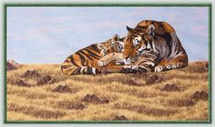 Large Mother Tiger and Cub Commercial Embroidery Machine, Machine Embroidery Designs, Cat Design, Big Cats, Cubs, Fabric Crafts, Tiger Cub, Quilts, Breathe