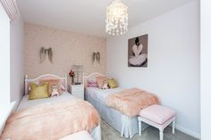 This is the perfect room for your daughter with the cutest colour combination of peach and cream!