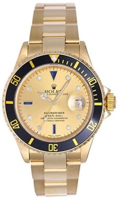 0fc36abf940 Rolex Submariner 16618 18K Yellow Gold 40mm Mens Watch