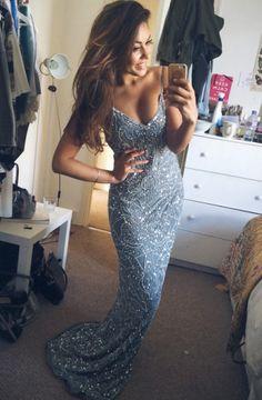 Stunning Mermaid Spaghetti Starps Beadings Appliques Long Prom