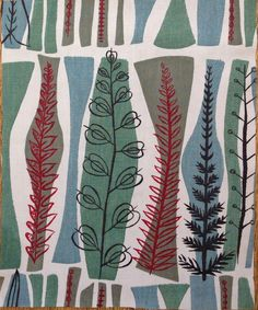 Vintage 1950s Fabric Remnant COPPICE by Mary White for HEALS. £7.00, via Etsy.