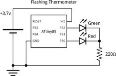 The thermometer consists of just an ATtiny85 and a bi-colour LED, using the…