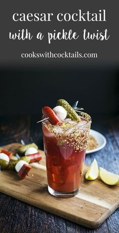 A caesar cocktail with vodka calmato juice a dash worcestershirea dash tabasco sauce a squeeze of lime and our secret pickled ingredient. Vodka Recipes, Shot Recipes, Cocktail Recipes, Drink Recipes, Alcohol Recipes, Cocktail Drinks, Caesar Drink, Caesar Cocktail, Classic Caesar Recipe