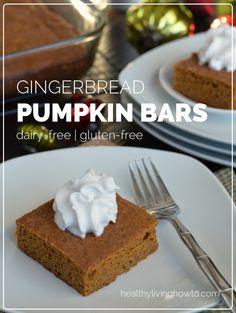 Gingerbread Pumpkin Bars | healthylivinghowto.com