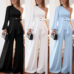 Fashion Pure Colour Off-Shoulder Polka Dot Jumpsuit Older Women Fashion, Latest Fashion For Women, Womens Fashion, Fashion Trends, Pretty Outfits, Stylish Outfits, Dress Outfits, Fashion Dresses, Mode Style