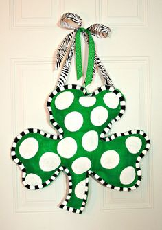 "Hand Painted St. Patrick's Day Burlap Shamrock Door Hanger Decoration HUGE 2 ft x 21"" - Irish Clover"