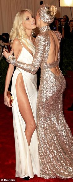 Anja Rubik in Anthony Vaccarello & Karolina Kurkova in Rachel Zoe. MET Gala 2012: 'Schiaparelli and Prada: Impossible Conversations'