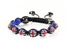hotsale shamballa armbänder union jack shamballa armband kristall diaco ball- versandkostenfrei(China (Mainland))