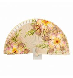 Abanico madera beige diseño 3 flores - Paula Alonso - Tienda online