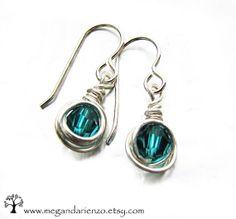 Blue Zircon Earrings  simplicity  December by megandarienzo, $25.00