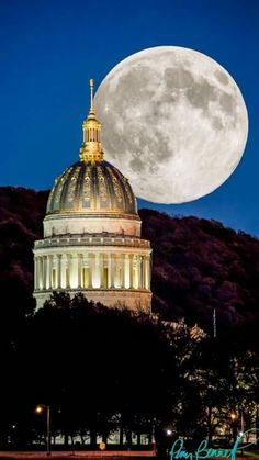 Supermoon at the West Virginia State Capitol