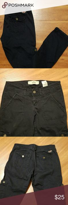 Hollister Cargo Jean's Deep blue, with side pockets, zippers on the bottom of jeans. Really great condition. Pants Skinny