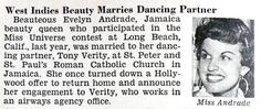 Miss Jamaica, Evelyn Andrade, Marries Dancing Partner Tony Verity - Jet Magazine May 26, 1955 | Flickr - Photo Sharing!
