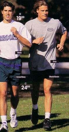 Brett Hollands for Sears Canada (Summer 1996) #BrettHollands #malemodel #malesupermodel #supermodel #model #Canadian #SearsCanada #FordModels #FordModels_Chi #NextModels #jogging #running #shorts #grass