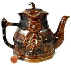 Toby Teapot Character Jug Gold Luster England Price Kensington 1940s Double Sided