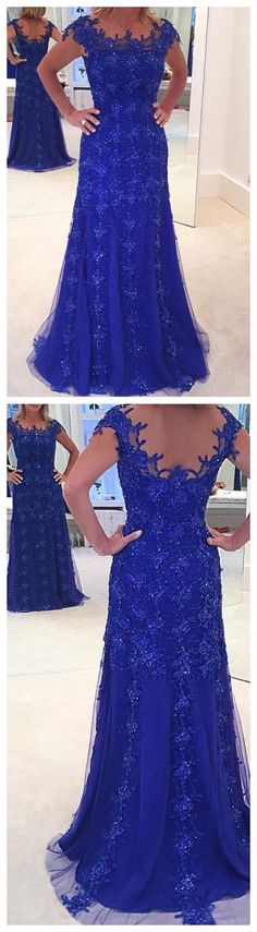 Wedding Dresses Ball Gown, New Arrival Royal Blue Lace Evening Prom Dresses Mermaid Boat Neck Capped Sleeve Tulle Mother Gowns DressilyMe Royal Blue Prom Dresses, Sequin Prom Dresses, Mermaid Prom Dresses, Sexy Dresses, Strapless Dress Formal, Evening Dresses, Fashion Dresses, Wedding Dresses, Party Dresses