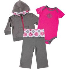 Yoga Sprout Newborn Baby Girls Hoodie, Pant & Bodysuit - Girl Medallion, Size: 9 - 12 Months