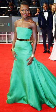 Celebrities Dazzle in Dior | InStyle.com Lupita At the 2014 BAFTAs, Nyong'o graced the red carpet in a Christian Dior Couture emerald green gown and Ana Khouri jewelry.
