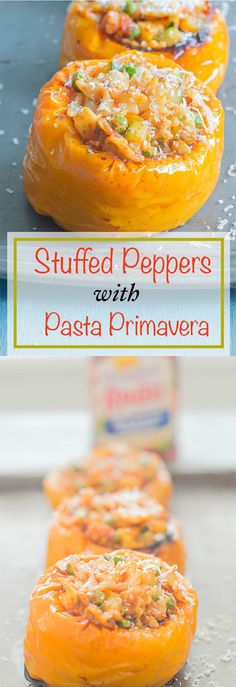 Stuffed Peppers - Peppers are delicately roasted and then stuffed with pasta primavera. The pasta primavera is made using Mini farfalle, shallots, fresh rosemary, fresh parsley, garlic, zucchini, squash and peas. This is the perfect weeknight dinner recipe for the whole family to enjoy. Vegan dinner and vegetarian dinner. #ad #simmeredintradition @ragusauce