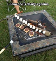 Someone, is a genius! Cook a ton of smores, at the same time! #camping #smores #outdoors