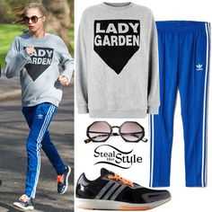 Cara Delevingne was spotted running the Lady Garden 5K in London's Battersea Park wearing a Topshop Lady Garden Sweatshirt (Sold Out), Fendi Metal Octagonal Sunglasses ($303.75), Originals Supergirl Track Pants With 3 Stripe ($63.00) and Yvori Training Shoes ($120.00) both by Adidas.