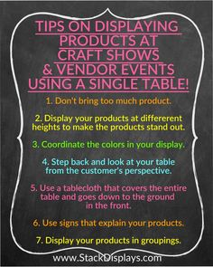 Tips on Displaying Products at Craft Shows & Vendor Events from Stack Displays How to make your vendor table or craft booth stand out. Tips on how to display your products at craft shows. Vendor Displays, Craft Booth Displays, Display Ideas, Retail Displays, Shop Displays, Merchandising Displays, Norwex Vendor Display, Stall Display, Scentsy