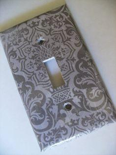 Gray Damask Single toggle LIght Switch Plate Cover. $4.95, via Etsy.