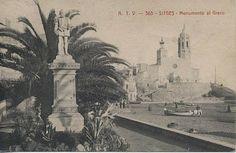 Monument al Greco, Sitges, 1914 Sitges, Tim Burton, Costa, Taj Mahal, Travel, Vintage Postcards, Pictures, Viajes, Destinations