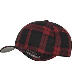Casquette courbée Flexfit Tartan Plais Noir - Rouge à carreaux