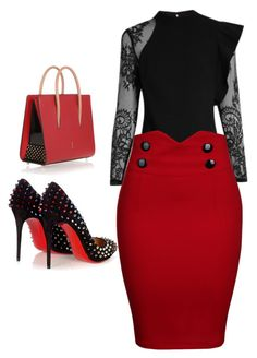 """""""Designbyjosie"""" by josiegyall on Polyvore featuring Christian Louboutin, self-portrait and WithChic"""