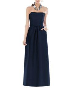 DescriptionAlfred Sung D509Fulllength bridesmaid dressStraplessSet in waistband at natural waistSubtly shirred skirtPocketsDupioni