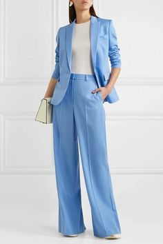 What blazer to wear with wide leg pants? Business Outfit Frau, Business Dress, Business Fashion, Formal Business Attire, Business Casual, Business Women, Suit Fashion, Look Fashion, Fashion Outfits