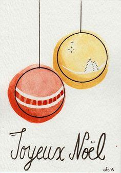"""Aquarelle """"Carte de Noël"""" - Modèle au choix via 1.2.3 P'tits Choux. Click on the image to see more!"""