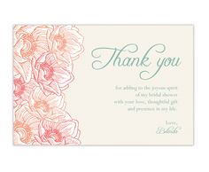 beautiful bridal shower thank you card thank you card template printable thank you cards