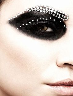 black shadow & white rhinestones