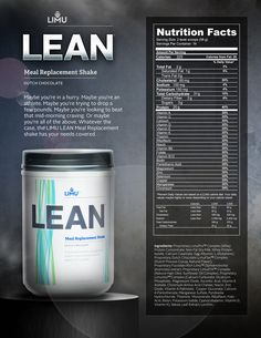 Nutritional facts for LIMU Lean Meal Replacement Shake. Check her for more info www.tangelafletcher.com