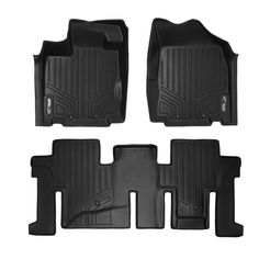 Black for 2019 Ram 1500 Quad Cab with Front Row Bench Seat Only SMARTLINER Custom Floor Mats 2 Row Liner Set Both Rows 1pc