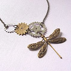 Mixed Metal Dragonfly Necklace - Steampunk Jewelry, Silver, Brass, Gears. $29.00, via Etsy.