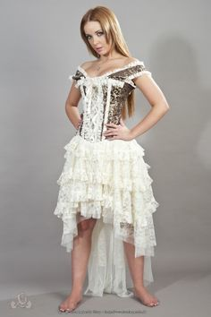 14ab92510 Wunderschönes Steampunk Korsett-Kleid mit langem Rüschenrock